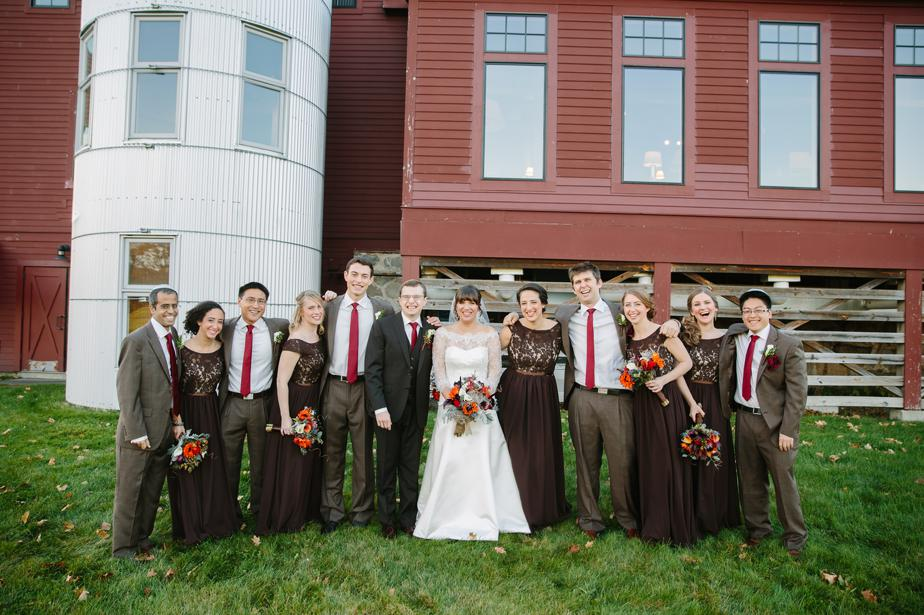 fall colors wedding party at the barn at gibbet hill