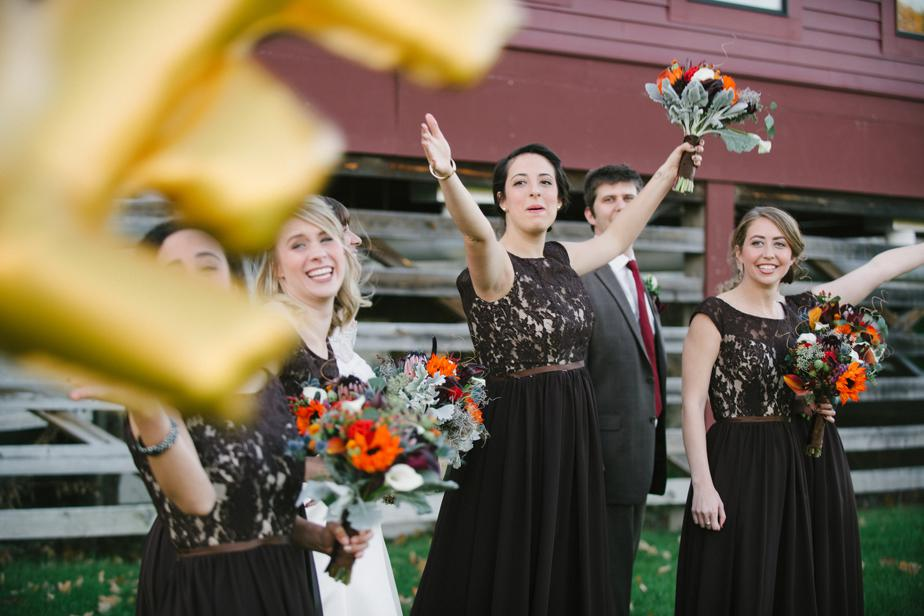 wedding party fall at barn at gibbet hill
