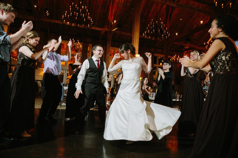 dance party at barn at gibbet hill wedding
