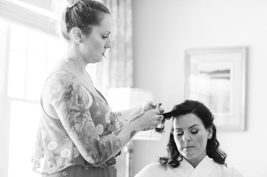 chatham bars inn wedding bride getting hair done