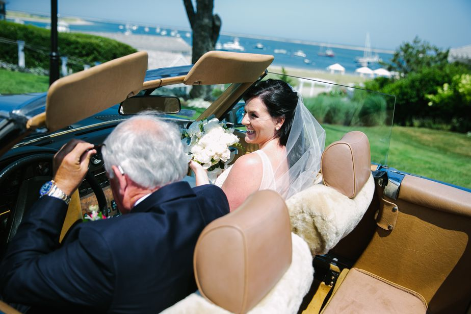 chatham bars inn wedding bride and dad in car