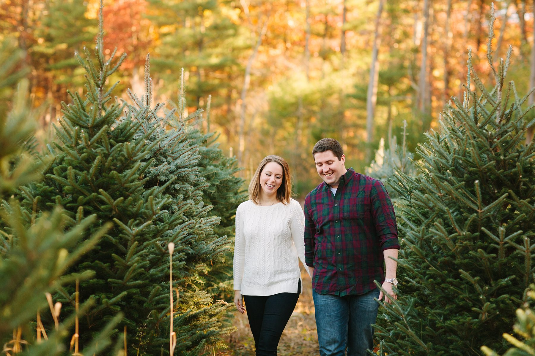 christmas themed engagement shoot