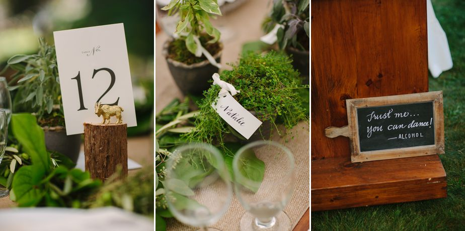 herbs on wedding table brookwood garden copperstown NY