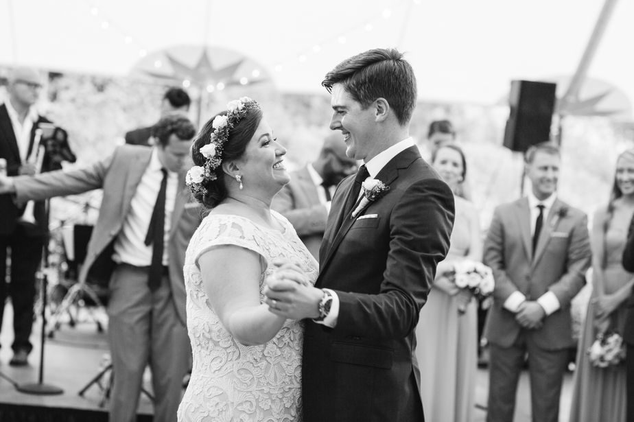 bride and groom first dance brookwood garden wedding