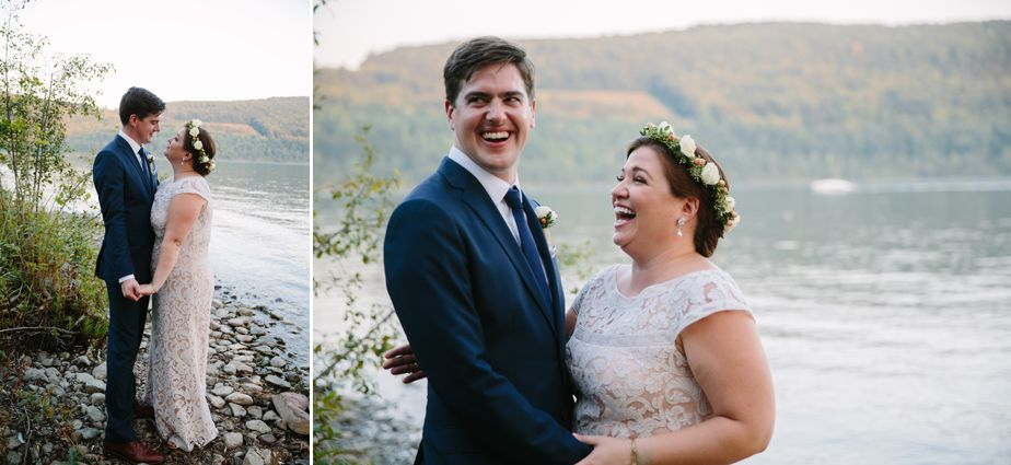 bride and groom on otesaga lake in cooperstown ny brookwood garden