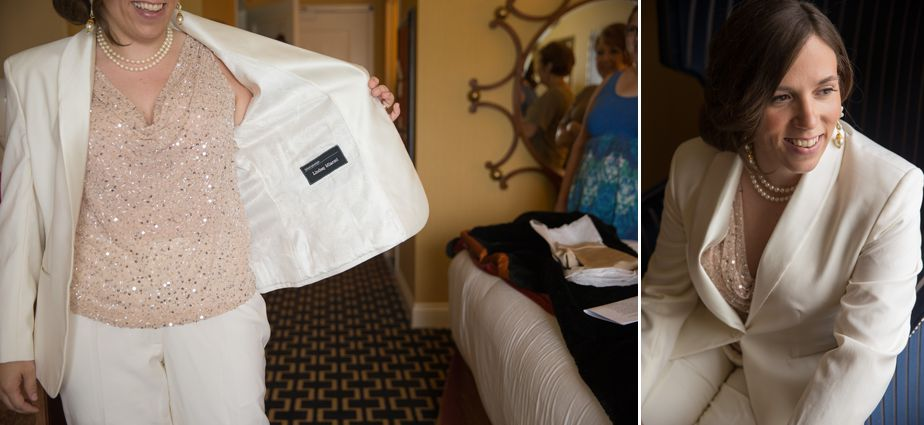 bride's suit for a gay wedding at hotel marlowe