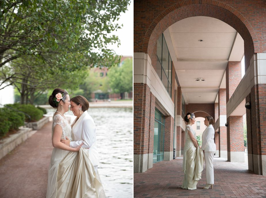 lesbian wedding bridal portraits at cambridge multicultural center wedding