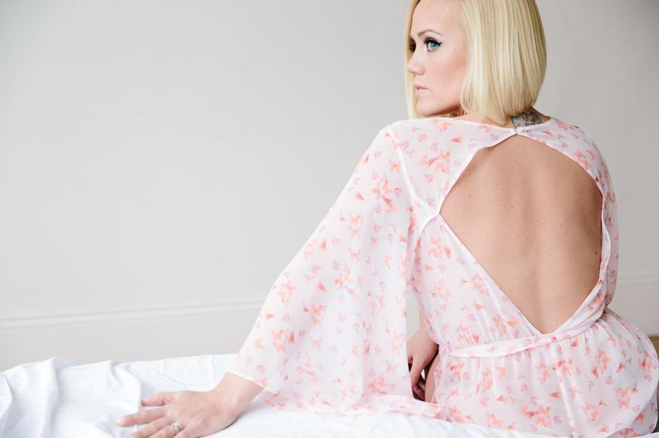 cute pink romper for boudoir photography in boston