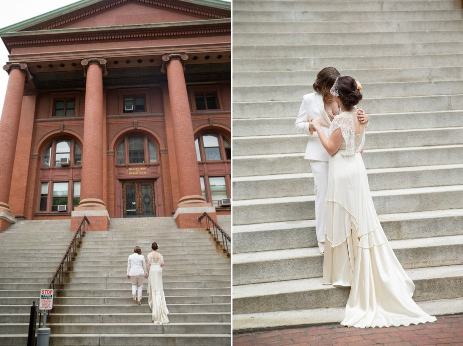 natural bridal portraits for lesbian wedding in cambridge ma