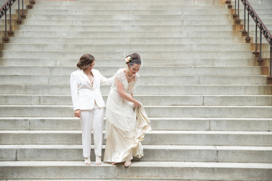 two brides at gay wedding at CMAC cambridge multicultural center