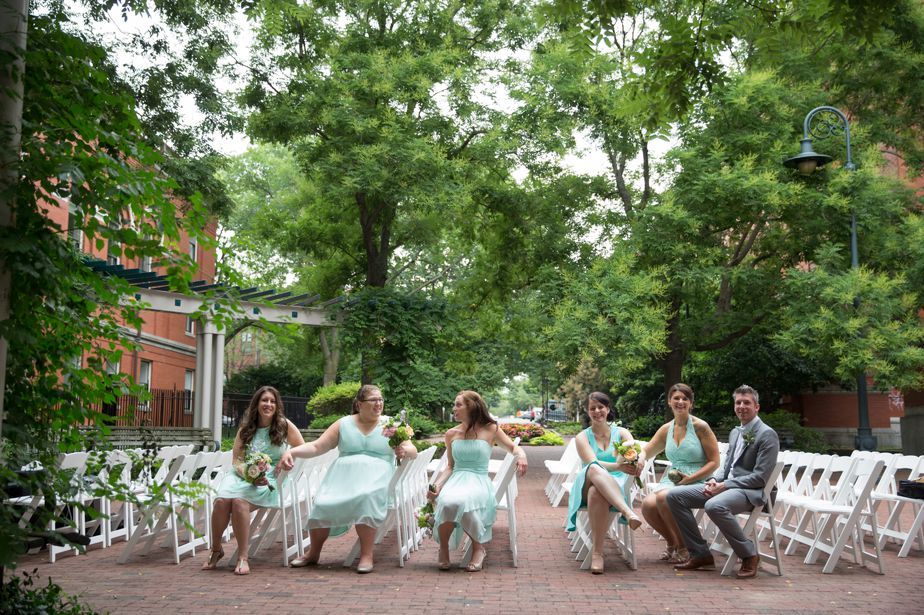 wedding party wearing turquoise in cambridge ma