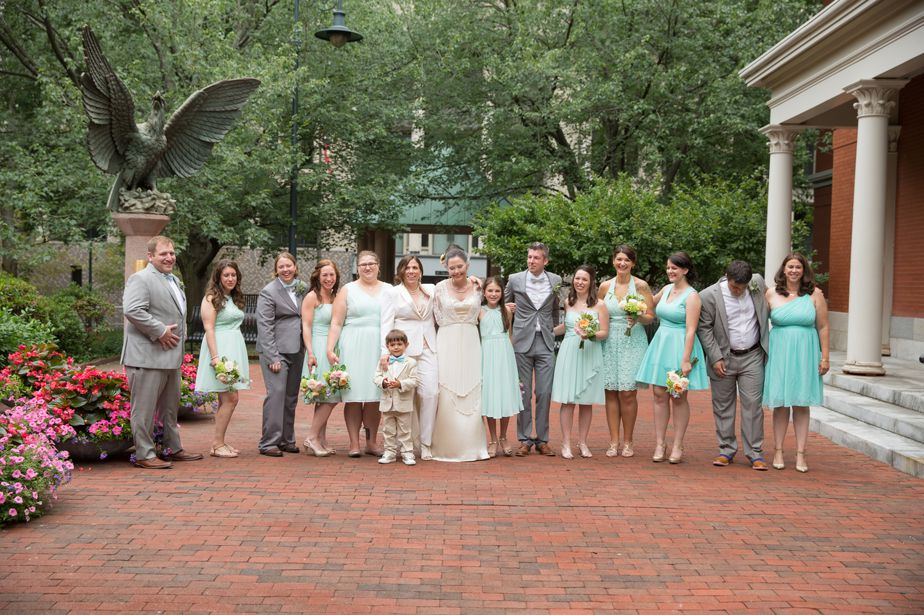 wedding party in turquoise at CMAC wedding
