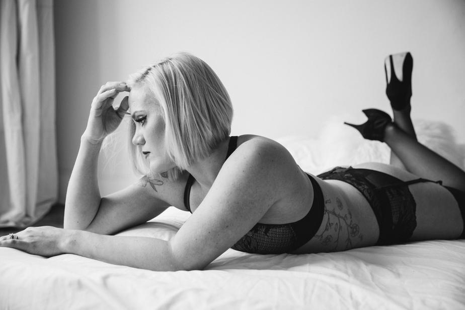 moody black and white boudoir photography