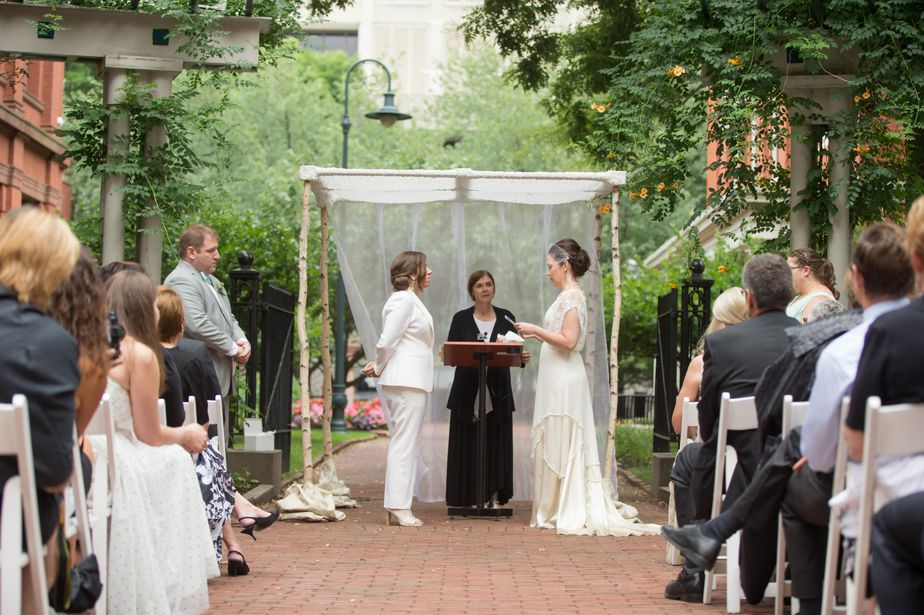 two brides at beautiful gay wedding in cambride MA at CMAC