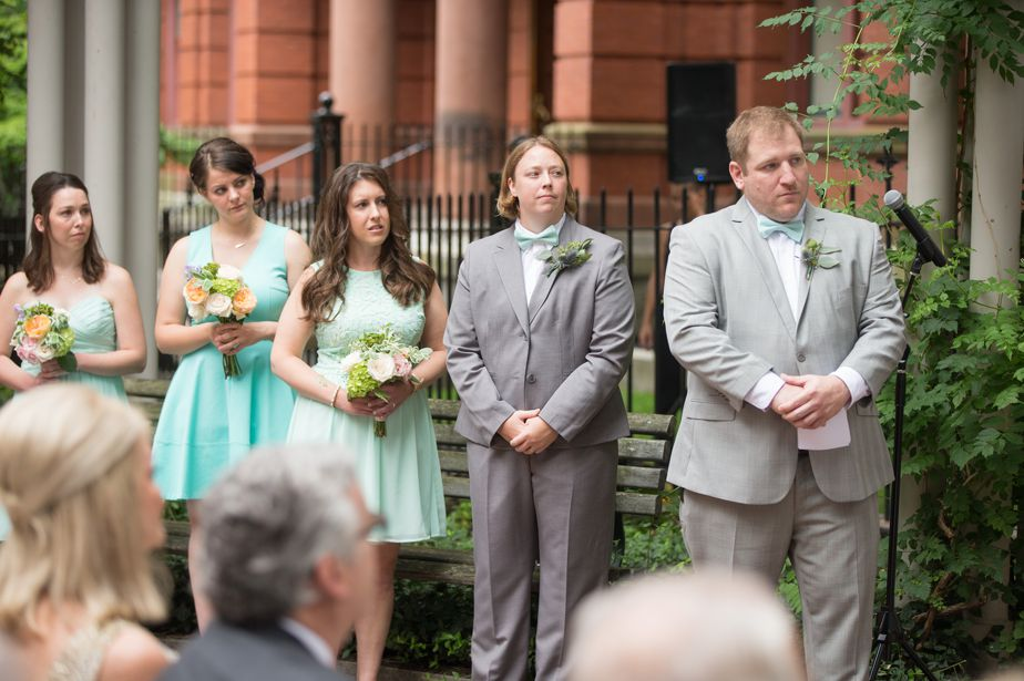 outdoor ceremony with two brides at cambridge multicultural center wedding