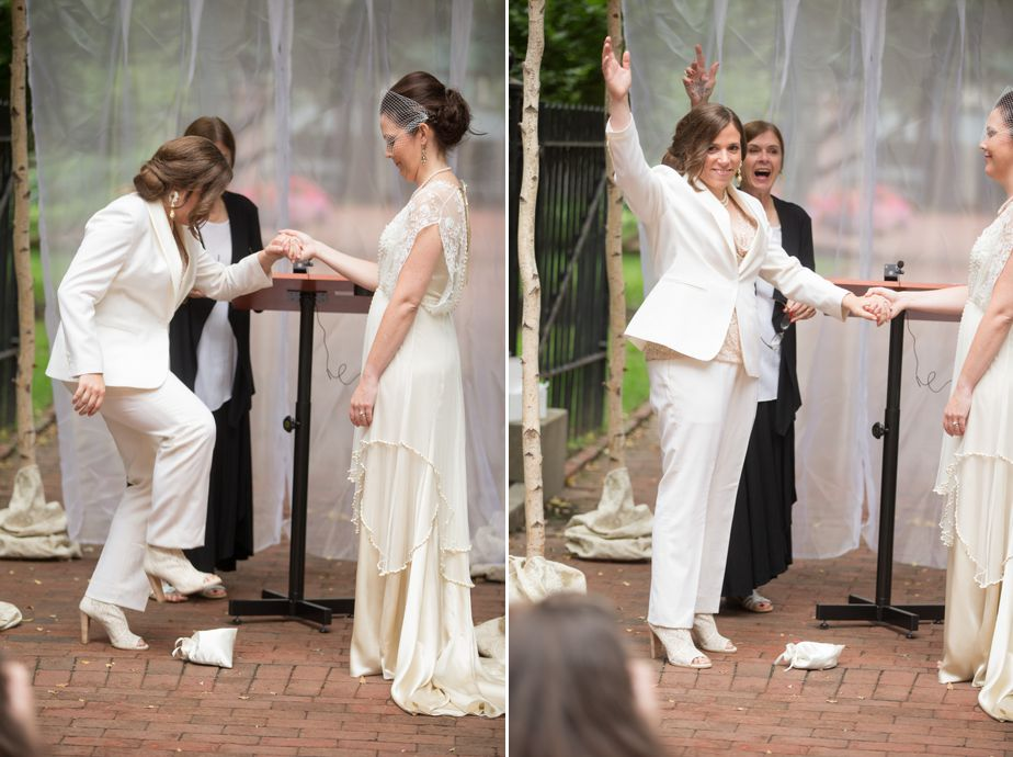 jewish traditions for two brides at gay wedding in cambridge ma
