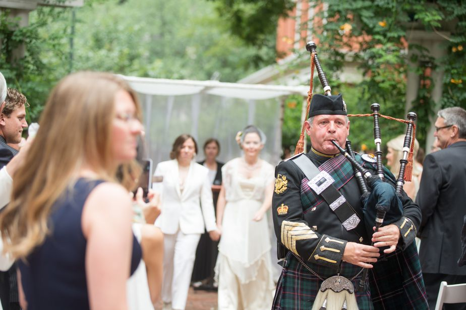 bagpipes at gay wedding in cambridge ma
