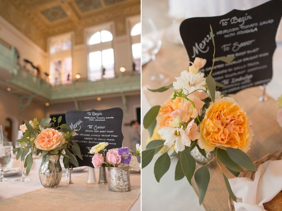 seafoam green and orange details at CMAC wedding