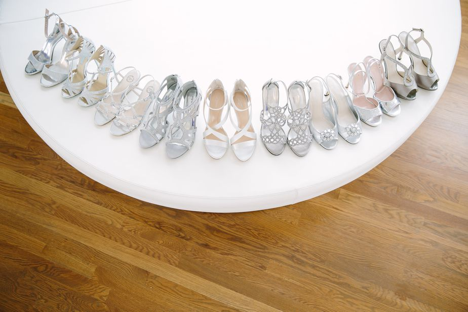 silver bridesmaid shoes for modern wedding at belle mer wedding newport RI