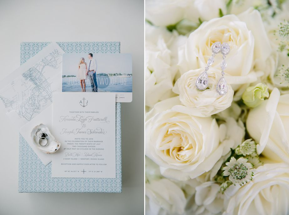 invitation suite with oyster ring box at belle mer wedding newport RI