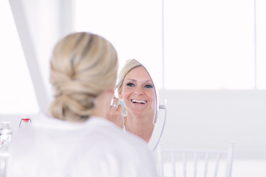 mirror relection at modern white wedding belle mer wedding newport RI