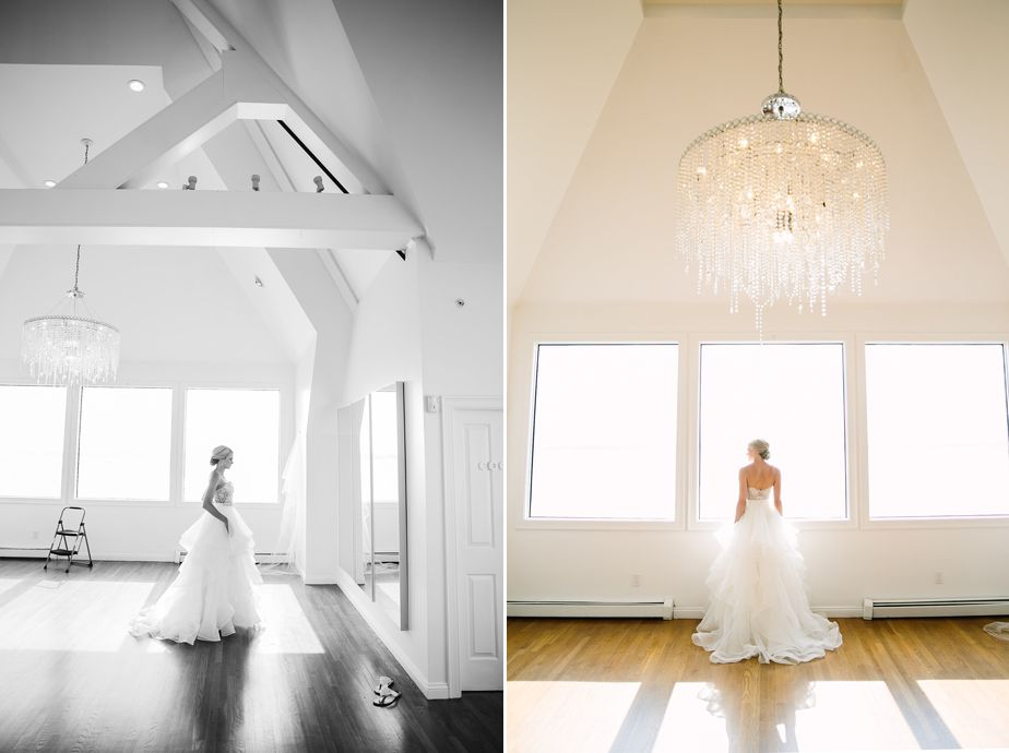 bridal portraits in modern white space belle mer wedding newport RI