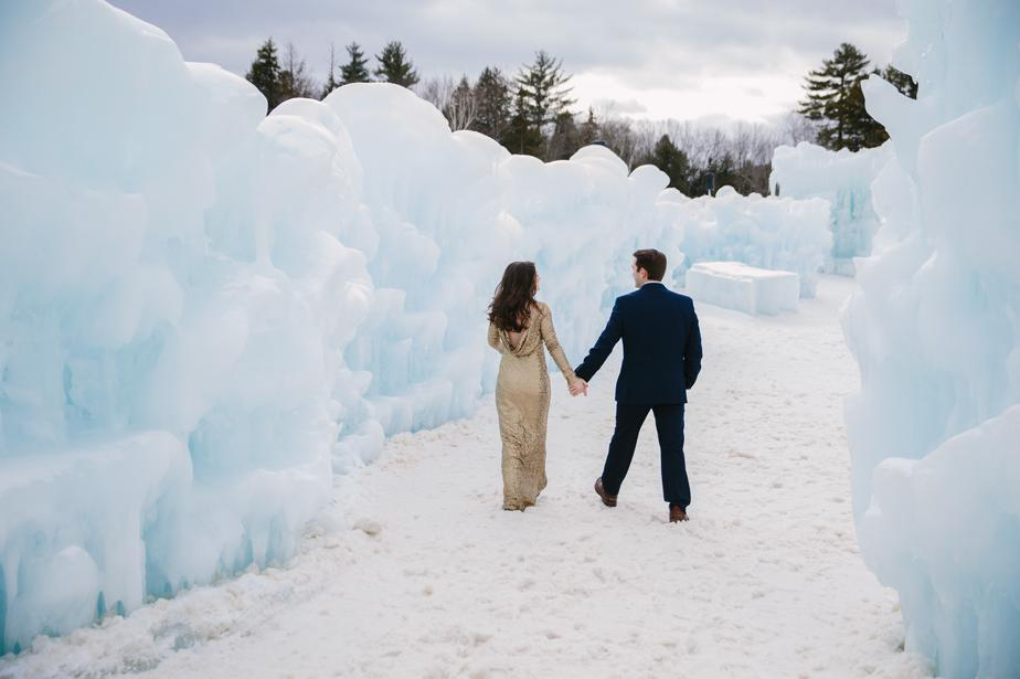 engagement shoot in Lincoln NH at the ice castles