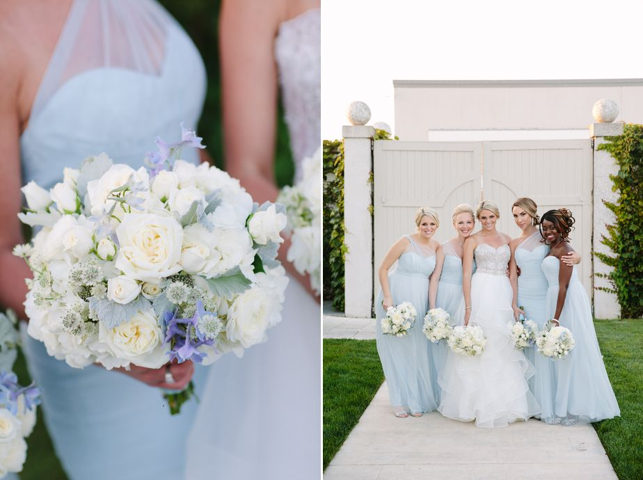 light blue bridesmaid dresses and white flowers at belle mer wedding newport RI