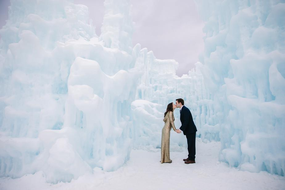 romantic kiss with bride and groom in the NH Ice Castles