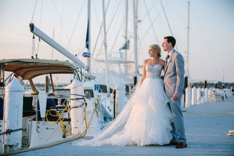 rhode island wedding portraits on the dock at belle mer wedding newport RI