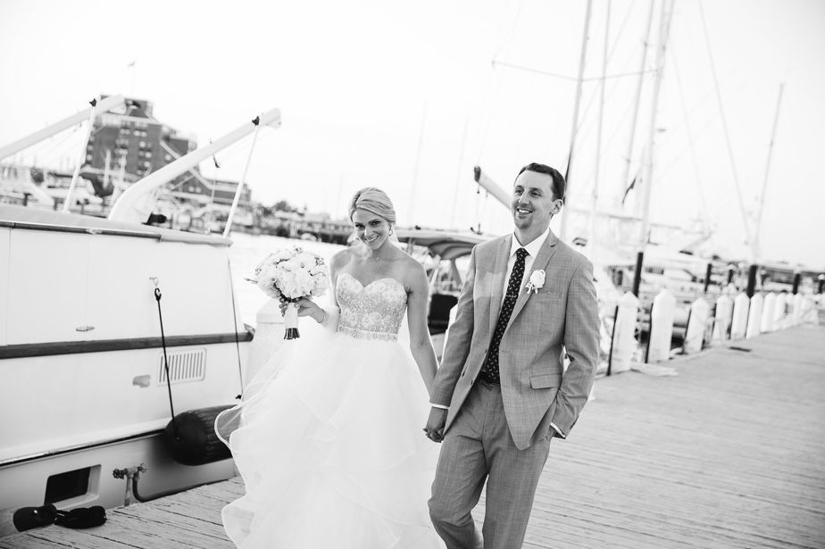 walking on the board walk at belle mer wedding newport RI