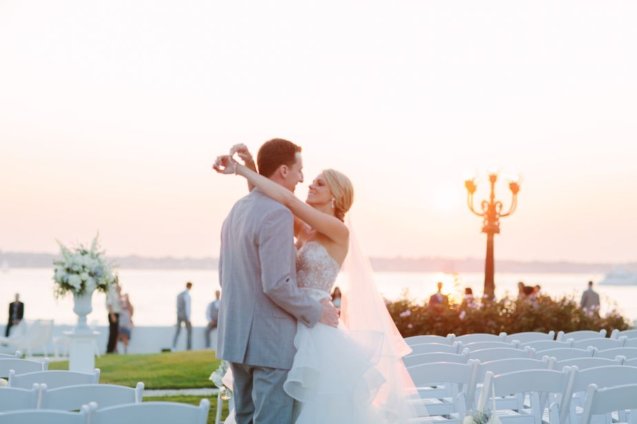 sunset photos on gaot island for belle mer wedding newport RI