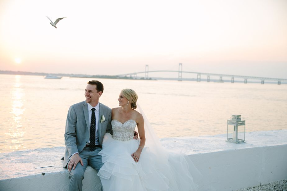 seagul over the water at belle mer wedding newport RI