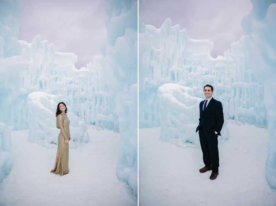 bride and groom portraits in NH ice castles