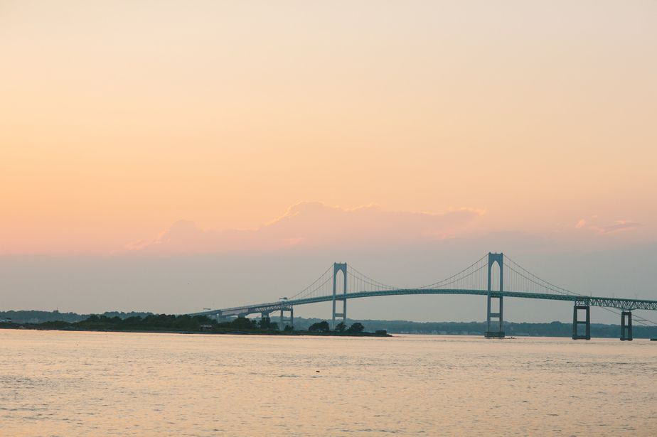 sunset bridge at belle mer wedding newport RI
