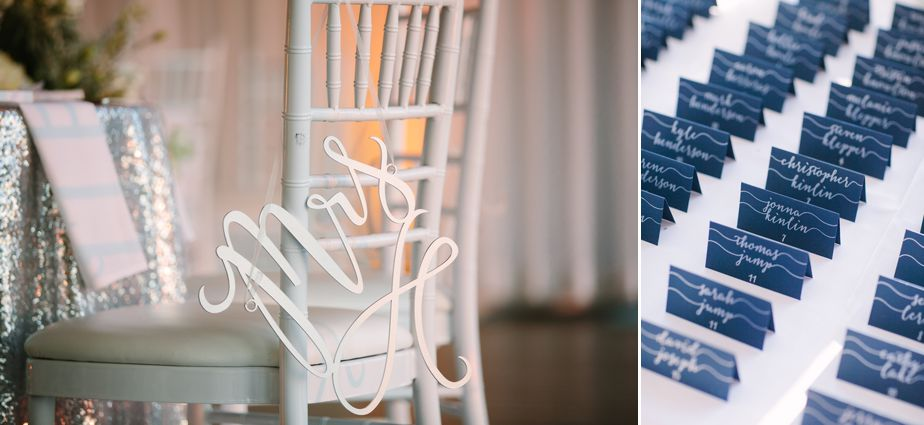 cursive mrs sign in script at belle mer wedding newport RI
