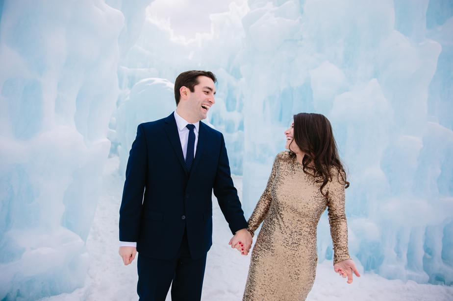 gold sequined wedding dress and ice castles in NH