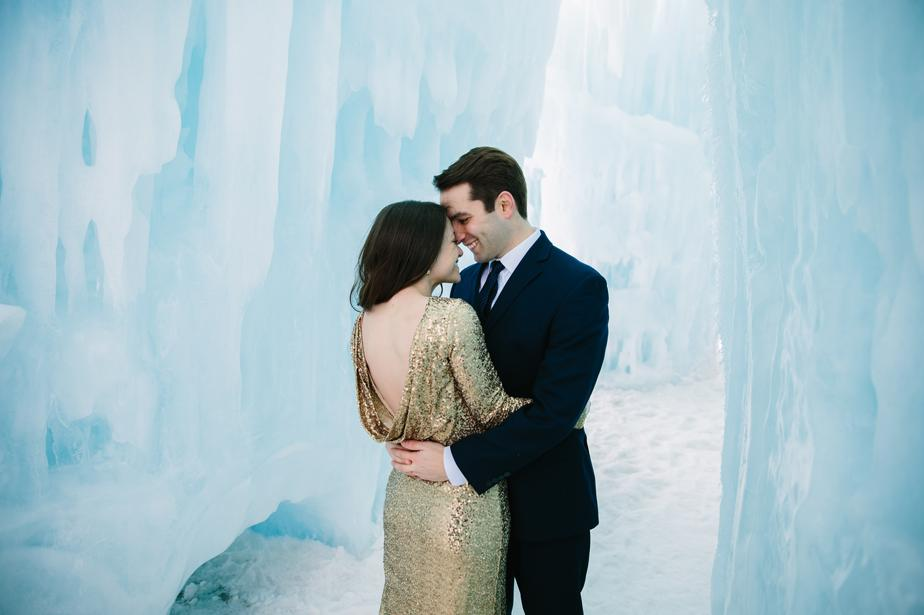 sequined wedding dress in the ice castles in NH