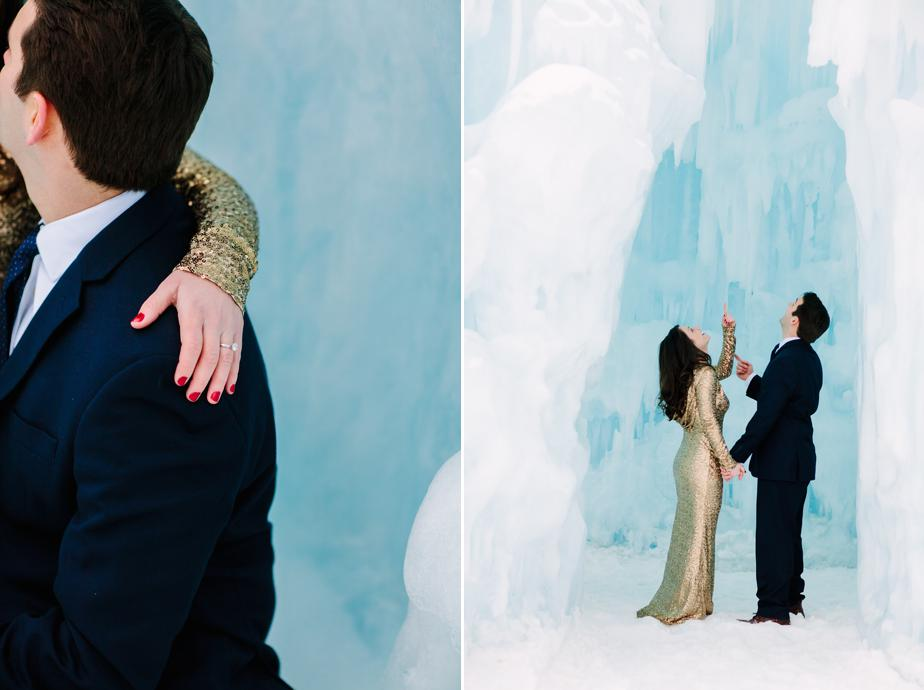 beautiful ice castles for a wedding with a sequined dress