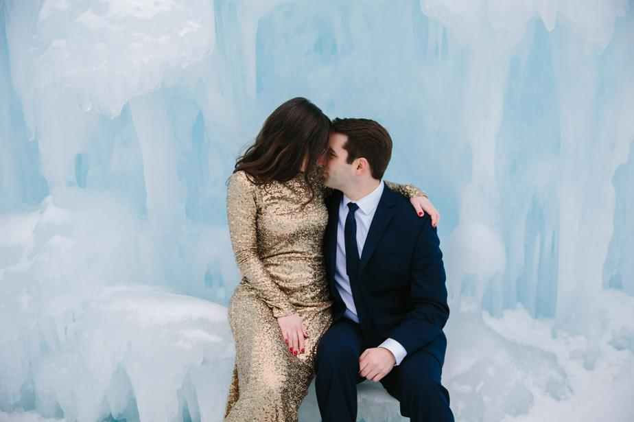 creative wedding photography in the white mountains ice castles NH