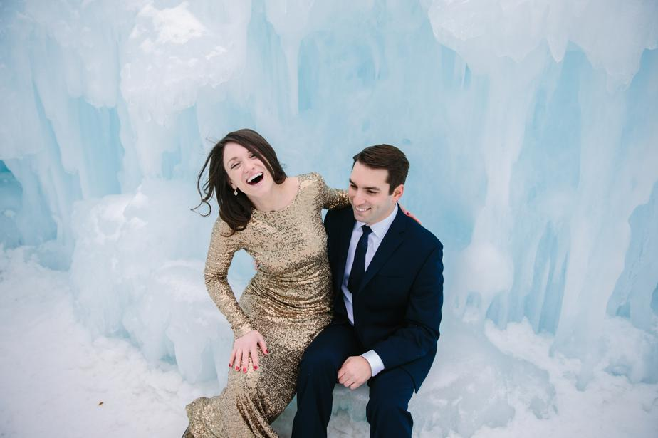 sequin wedding dress in the NH ice castles in Lincoln NH