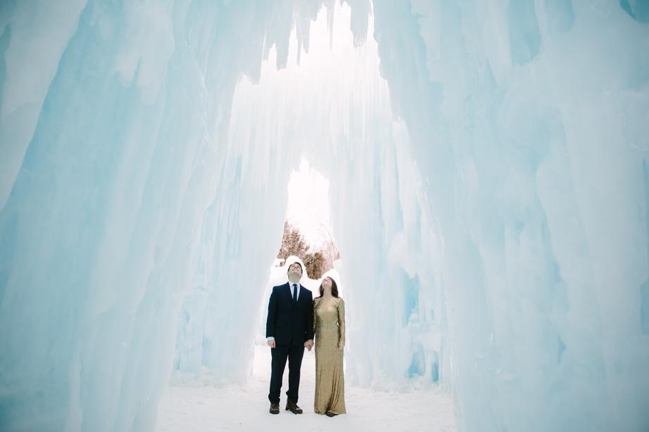 engagement shoot in white mountains NH wedding at ice castles in Lincoln NH
