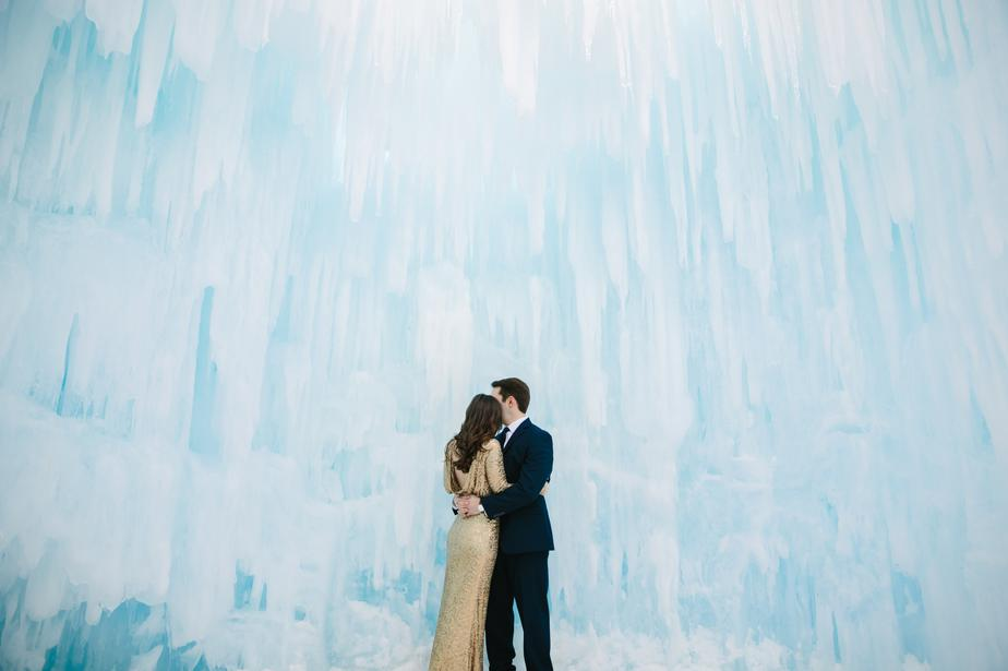 creative photographer in white mountains NH wedding at ice castles in Lincoln NH