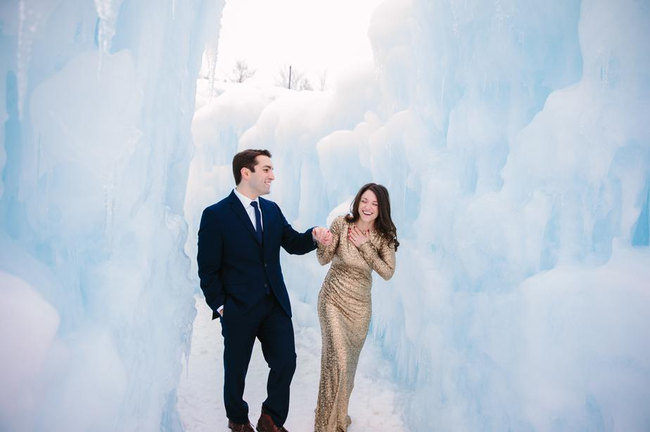 white mountains NH wedding at ice castles in Lincoln NH