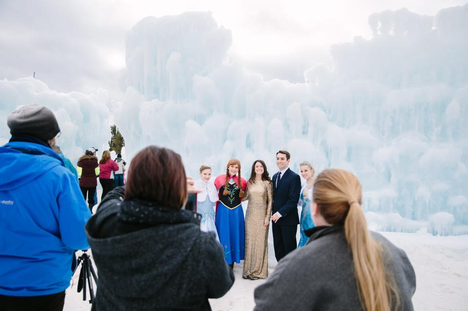 NH ice castles in Lincoln NH engagement shoot