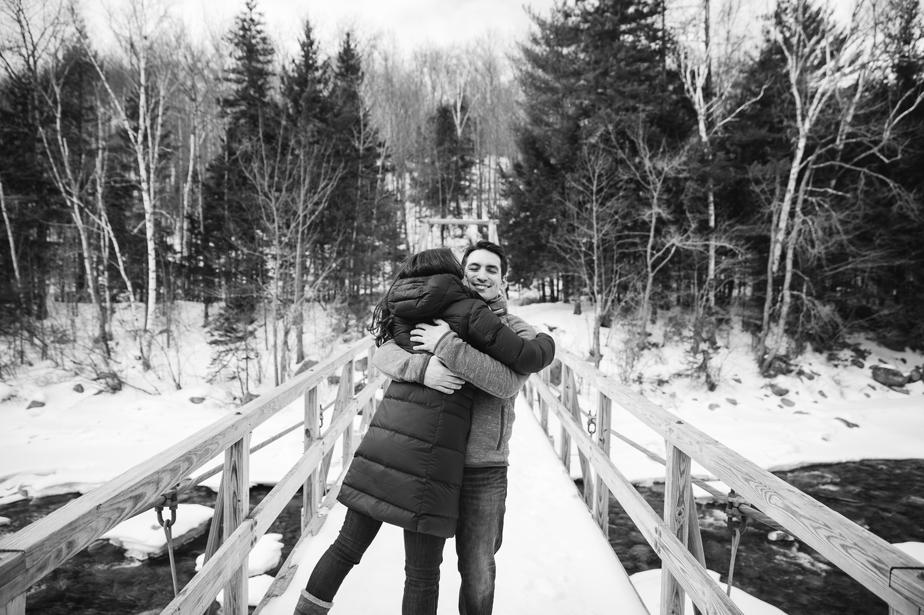 white mountains NH wedding couple black and white
