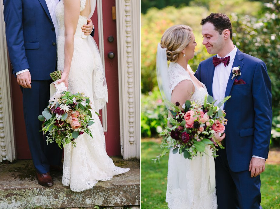 pink and red flowers and bow tie at morain farm wedding