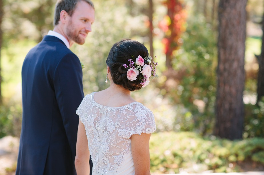 BHLDN wedding dress and flowers in her hair