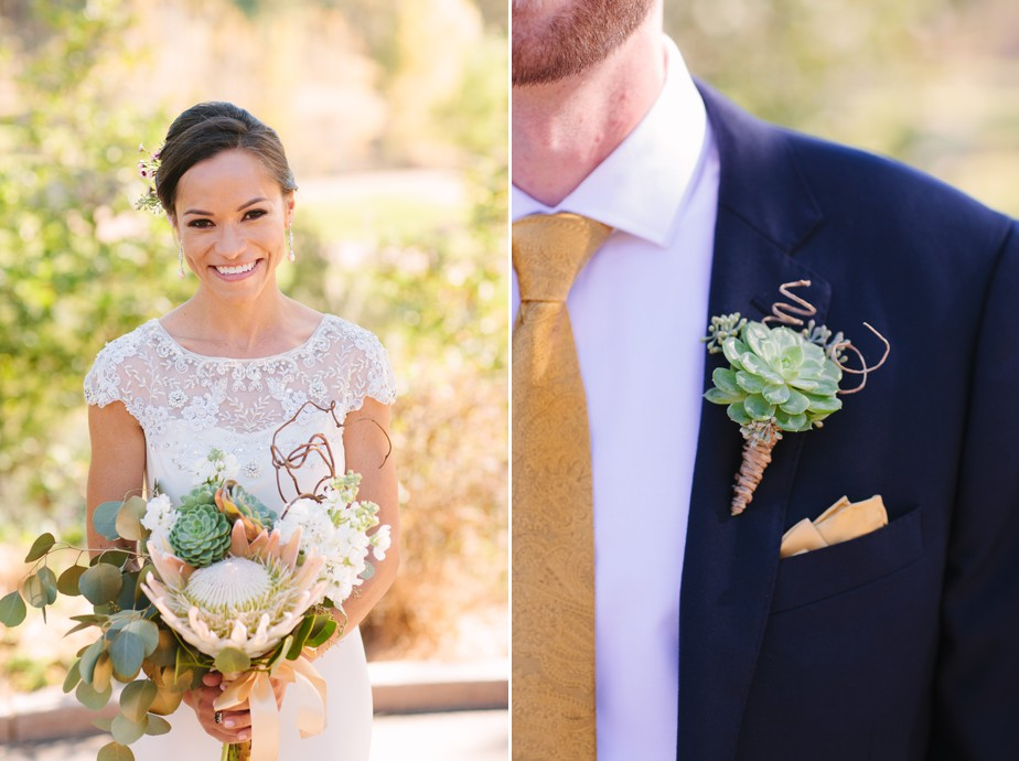 succulents and protea wedding bouquet at AZ wedding