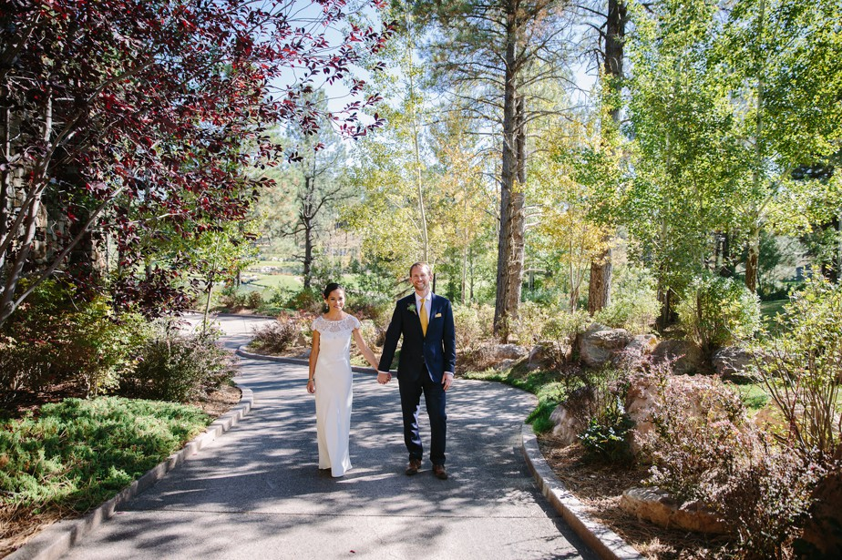 couple walks in Flagstaff AZ wedding